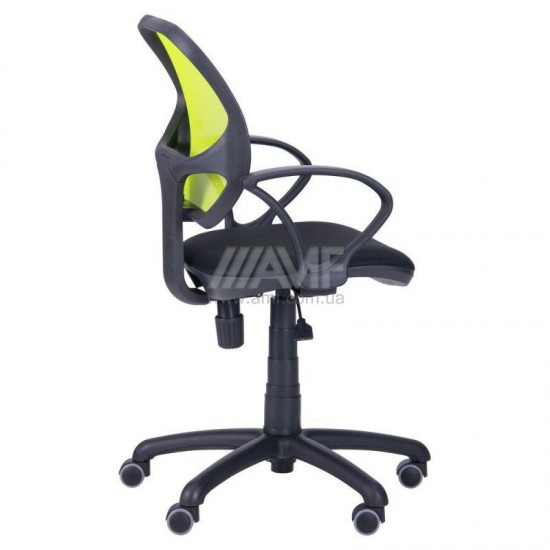 Кресло Байт/АМФ-4 сиденье Сетка черная/спинка Сетка лайм