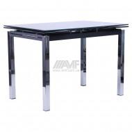 Стол Глория B 179-34-2 1700/1100*740*770  база-хром/ стекло-черный
